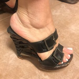 Shoes - Black leather sandals size 6.5